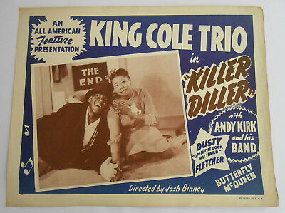 1948 Killer Diller King Cole Trio butterfly Mcqueen theatre lobby card 14x11