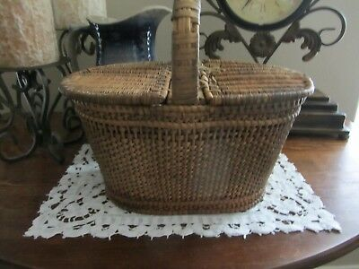 Antique 19Th C. Shaker Style Double Lid Finely Woven Sewing Basket