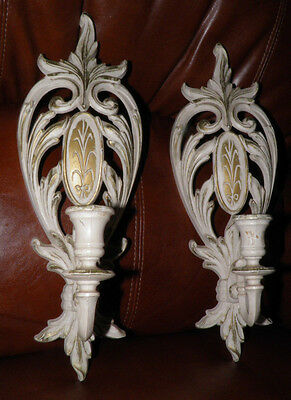 Pair of Single Arm Genuine Syroco White Gold Sconces Candle Hollywood Regency