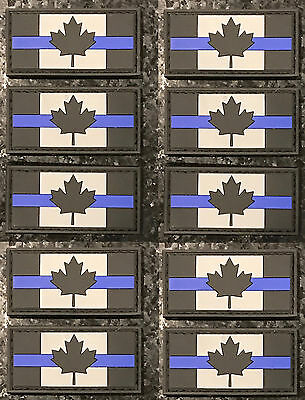 10/PACK LEO Thin Blue Line Canadian Flag PVC Rubber Morale Patch FREE SHIPPING