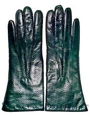 Neiman Marcus Green Lambskin Leather Gloves ~ Size 7 1/2 ~ 100% Cashmere Lining