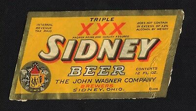 Sidney Triple Xxx  Beer Label   - Irtp  -  Not More Than 3.2%  -  Sidney, Ohio