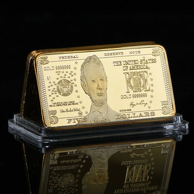 WR United States $5 Five Dollar 999 Fine Gold Clad Art Bar Bullion Holiday Gifts