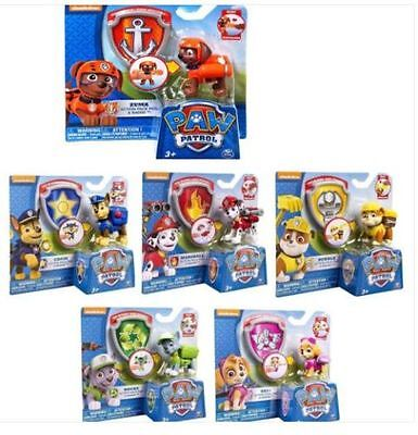 Set of 6 Paw Patrol Action Pack Pup dog backpack projectile toys Figure Hot