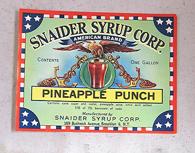 Vintage Unused  Label for Snaider Syrup Pineapple Punch