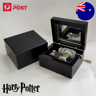 Music Box Harry Potter Hedwig's Theme Engraved Wooden Black Hand Crank Movement