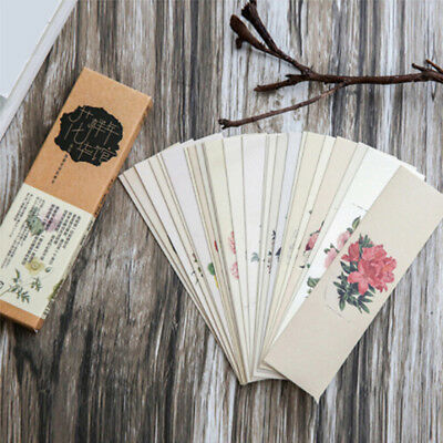 30pcs/lot Chinese Style Paper Bookmark Vintage Flower Book Mark For School