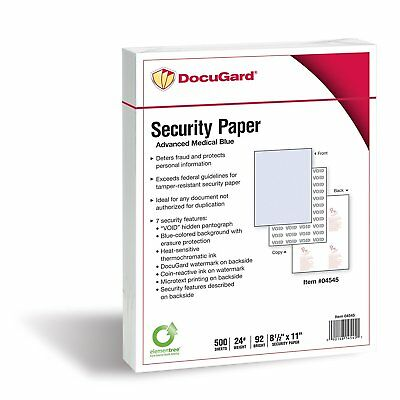 OpenBox DocuGard Advanced Blue Security Paper, 7 Features, 8.5 x 11 Inches, 24 l