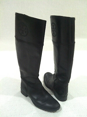 TORY BURCH BLACK LEATHER EMBOSSED LOGO RIDING KNEE HIGH BOOTS sz 6.5