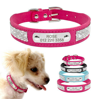 Bling Diamante Personalised Cat Dog Collars Necklace Laser Engraved Dog Name
