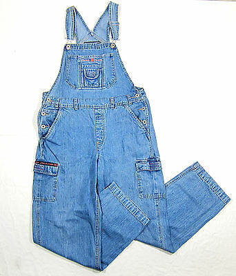VTG 90s BUM Equipment Light Denim Overalls Pants Pocket Baggy Hip Hop Flag Patch