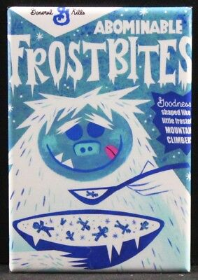 """Abominable Frostbites Cereal Box 2"""" X 3"""" Fridge / Locker Magnet. Unique Gift!"""