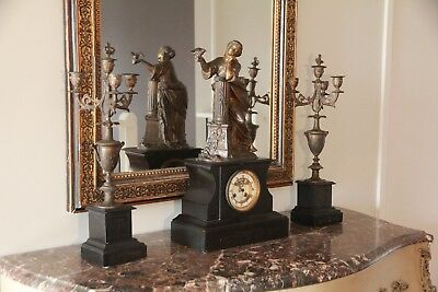Large French Antique Slate Clock and Candelabra S Marti 1860 Medaille de Bronze