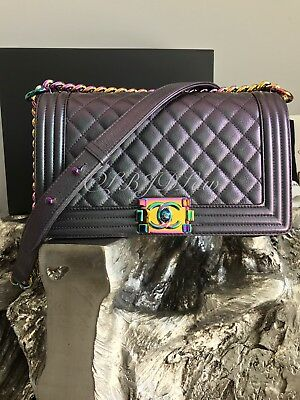 59ecd3a60493 Nib Chanel Iridescent Purple Mermaid Medium Boy Bag + Wallet Set Rainbow  2016C