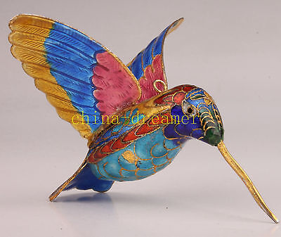 Colorful Hand-Made Cloisonne Hummingbird Statue Figurines Superb Collectable