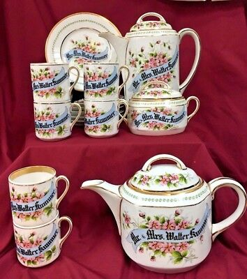 19th C. Volkstedt Custom Painted Tea/Coffee 18 Pc Service