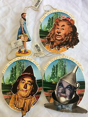 1997 Turner Entertainment Wizard of Oz Wooden Set of 4 Ornaments