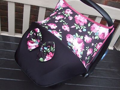 maxi cosi cabriofix / pebble car seat hood sun shade/pads/bow flowers black