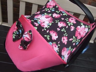 maxi cosi cabriofix / pebble car seat hood sun shade/pads/bow flowers