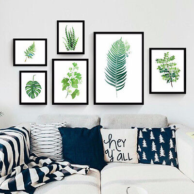 Modern Green Leaves Plant Canvas Wall Painting Art Print Home Room Decor Groovy