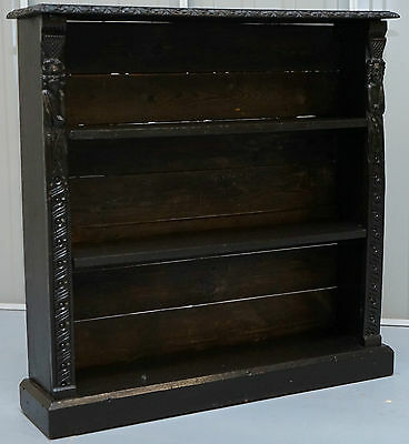 Victorian Ebonised Oak Hand Carved King And Queen Bookcase Lovely Vintage Piece