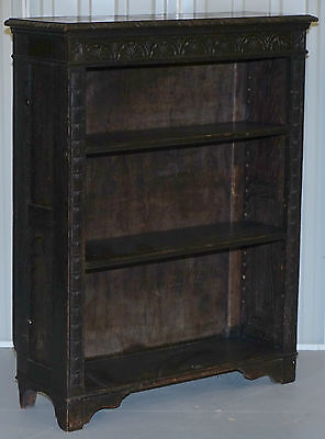 Victorian Jacobean Ebonised Oak Hand Carved Dwarf Arts And Crafts Bookcase Sweet