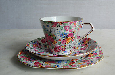 Lord Nelson 'Marina' Trio  All Over Floral, Cup, Saucer, Plate, English Chintz