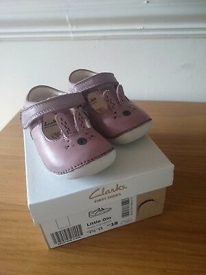 Baby Girl First Clarks Shoes Size 2.5 G