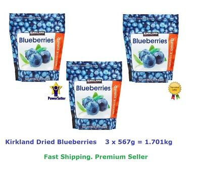 3x Kirkland Whole Dried Blueberries 567g (Total =1.701kg)