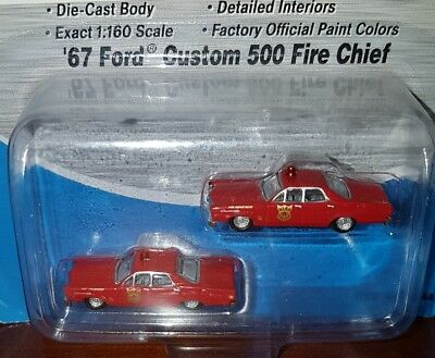 Pack Of 2 Mini Metals 1:160 N Scale Fire Chief's 1967 Ford Custom 500