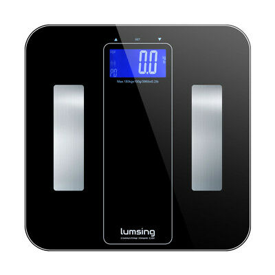 LCD Glass Digital Body Scales Weighing BMI Fat Water Analyser Weight Loss 180kg