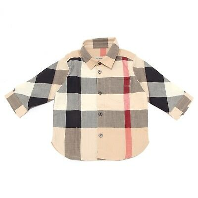 7239T camicia bimbo BURBERRY all check manica lunga shirt long sleeve kid