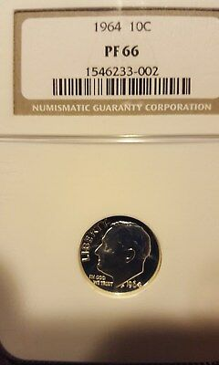 1964 Silver Proof Roosevelt Dime Ngc Pf66