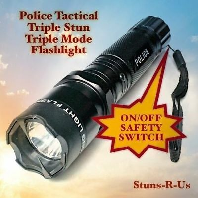 Metal POLICE Stun Gun 500 Million Volt Rechargeable LED Flashlight + Taser Case