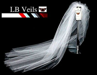Ivory Cream White Veil Fingertip Hip 1 Single Tier Crystal Wedding Bridal LBV158