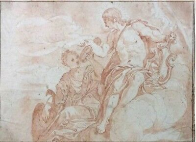 A 17th-18th century French old master drawing of Apollo with a maiden
