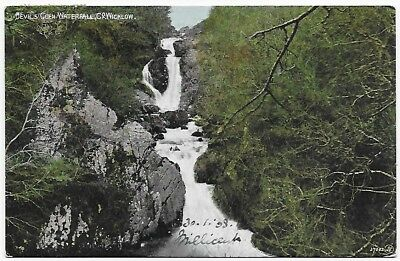 Vintage Postcard.Devil's Glen Waterfall,Co.Wicklow.Used1908 To France. Ref:79242