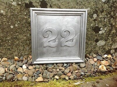 """LARGE SOLID LEAD BESPOKE HOUSE PLAQUE. """" NUMBER 22 """" Georgian font 200x200mm"""