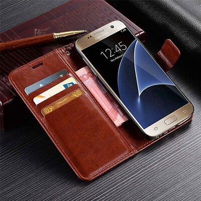 For Samsung Deluxe Stand Magnetic Card Pouch Wallet Flip Leather Case Back Cover
