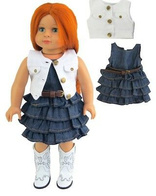 "Doll Clothes 18"" Dress Jean Vest White Western Fits American Girl Dolls"