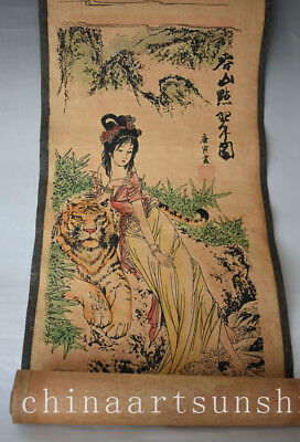 Chinese Old Paper Belle Painting Handmade Painted Ancient Art Decoration