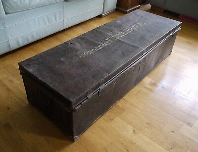 Vintage steel naval chest or trunk. Coffee table military ammo box