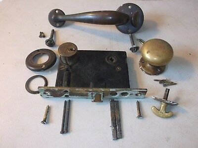 Antique / Vintage Brass Mortise Lockset With Thumb Latch Handle --