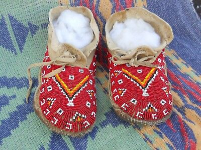 VINTAGE ANTIQUE Lakota SIOUX MOCCASINS Red Orange White Black Yellow BEADS 1900