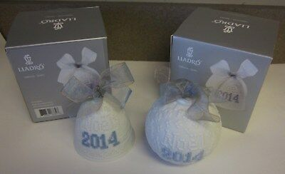 LOT OF 2 LLADRO 2014 Porcelain Christmas Bell and Ball ornaments NEW