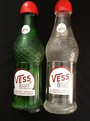 Vess Vintage Green & Clear Bottle Shaped Salt & Pepper Shakers w/ Red Caps