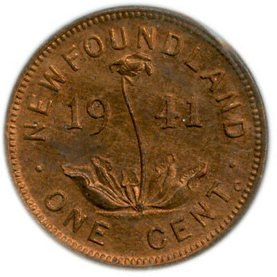 1 Cent Newfoundland 1941-C Graded MS63 Red by ICCS