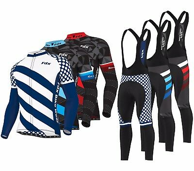 "FDX Mens ""Limited Edition""  Cycling Jersey Thermal Bike jacket  Bib Tights Combo"