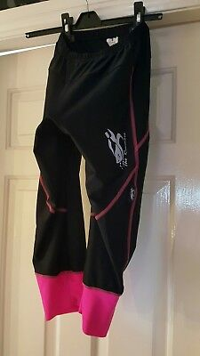 Ladies Cycling 3/4 Quarter Leggings. Coolmax Padded. Size Small (8 - 10). Pink.