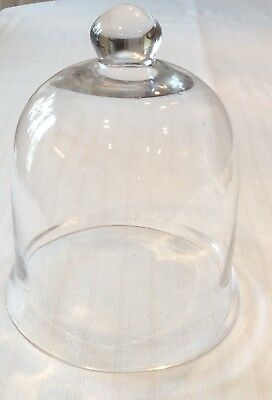"Unique Vintage Large 10"" Glass Cloche Dome BELL JAR French Country Garden"